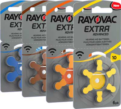 rayovac extra hearing aid batteries side angle left